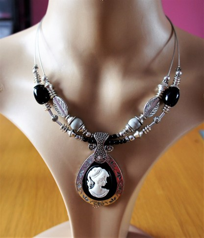 Black and white teardrop lady cameo and silver and black nouveau bead necklace
