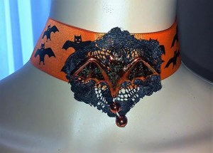 Halloween bat and lace choker necklace