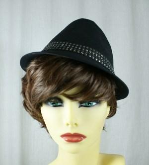 Black studded trilby hat (unisex)