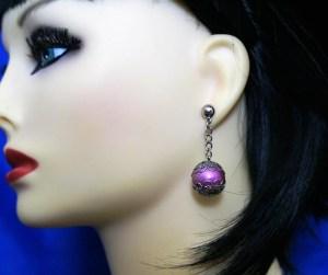 Pink filigree globe earrings
