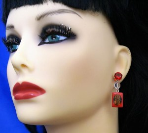Hanuman red tile and jewel stud earrings