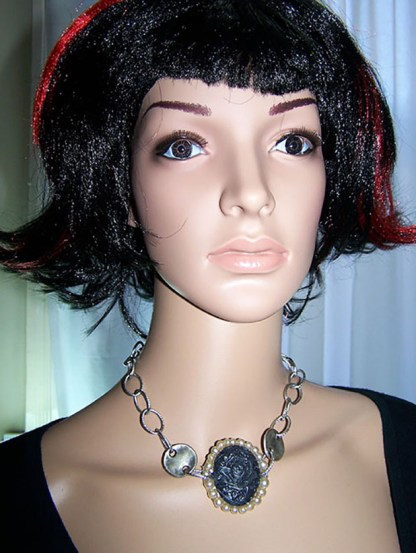 Victorian 3D rose cameo choker necklace