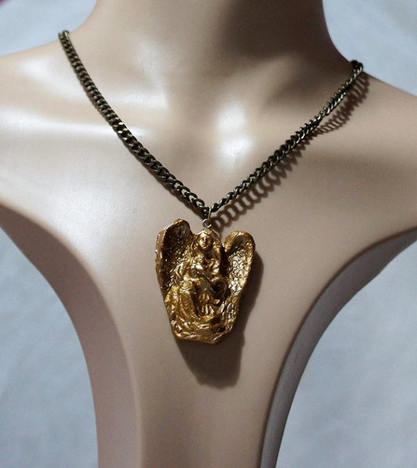 Gold 3D angel and thick gold chain necklace