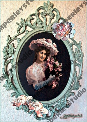 Victorian lady shabby frame pose