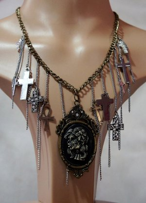 Gothic steampunk skeleton girl cameo and multi cross necklace