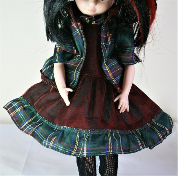 Red and green tartan Lolita dress and matching jacket