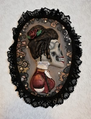 "Gothic Steampunk 'Lady"" cameo wall plaque"