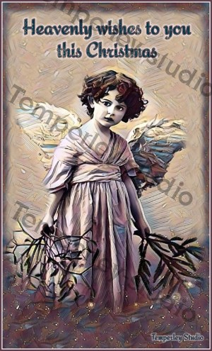 Victorian colourised angel card