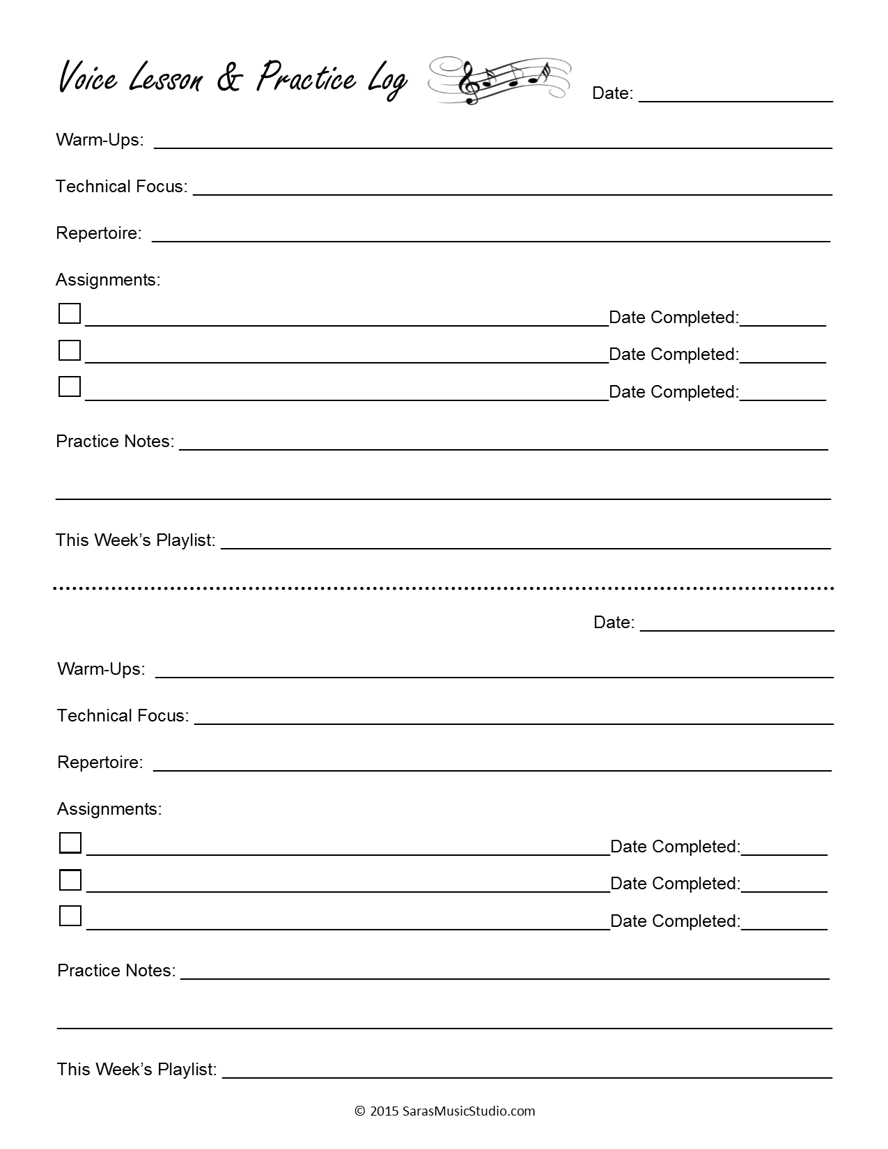 Voice Lesson Assignment Sheets Sara S Music Studio