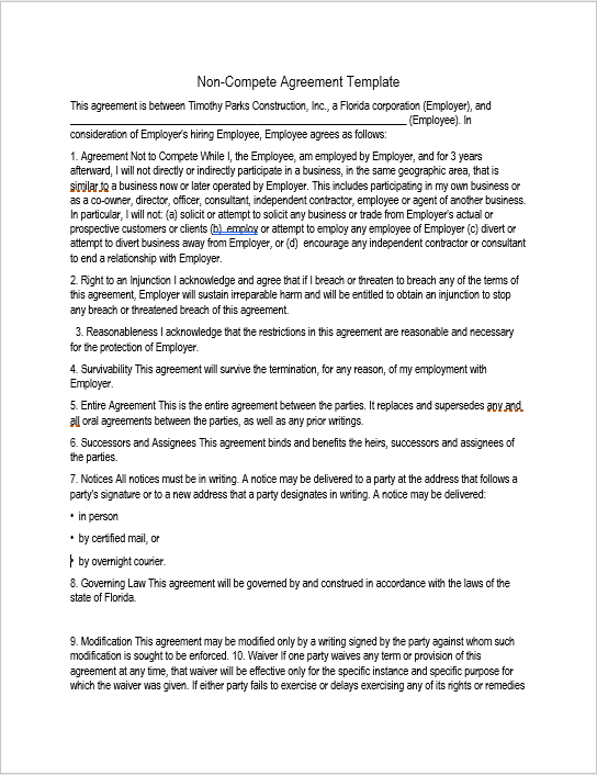 37 Free NonCompete Agreement Templates MS Word TemplateHub – Sample Non Compete Agreement