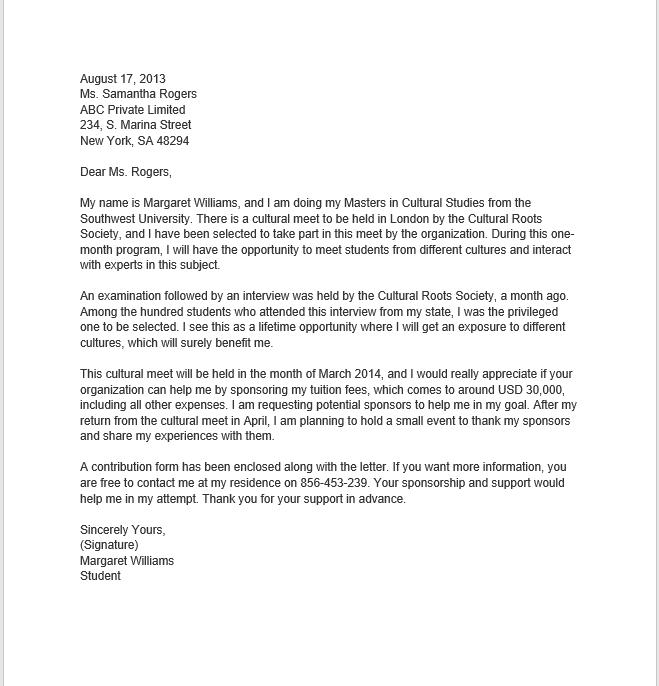 Sponsorship letters