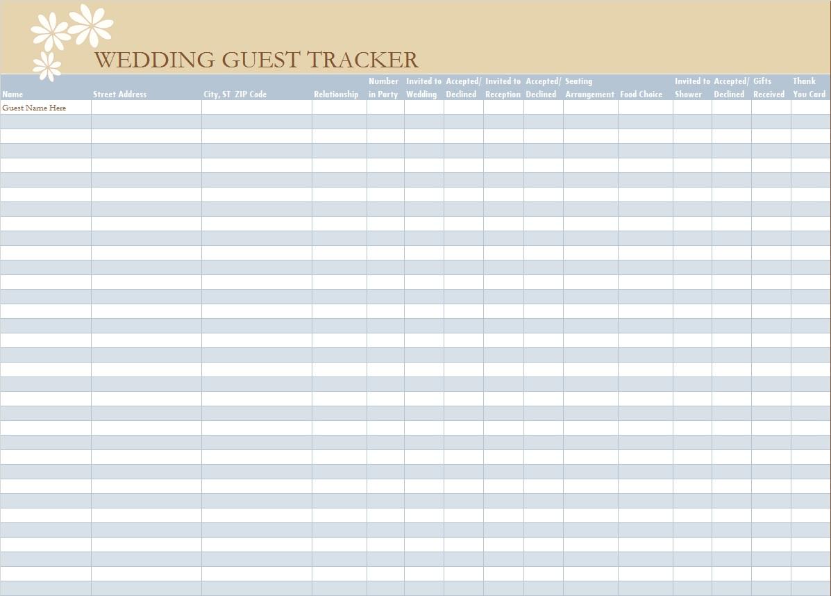 30 Free Wedding Guest List Templates
