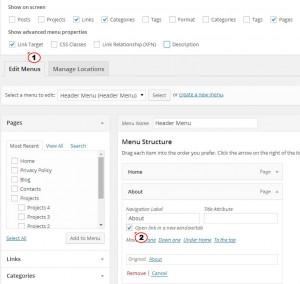 WordPress Расширенные настройки меню Центр Поддержки