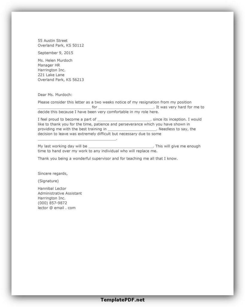 Two weeks notice Template 02
