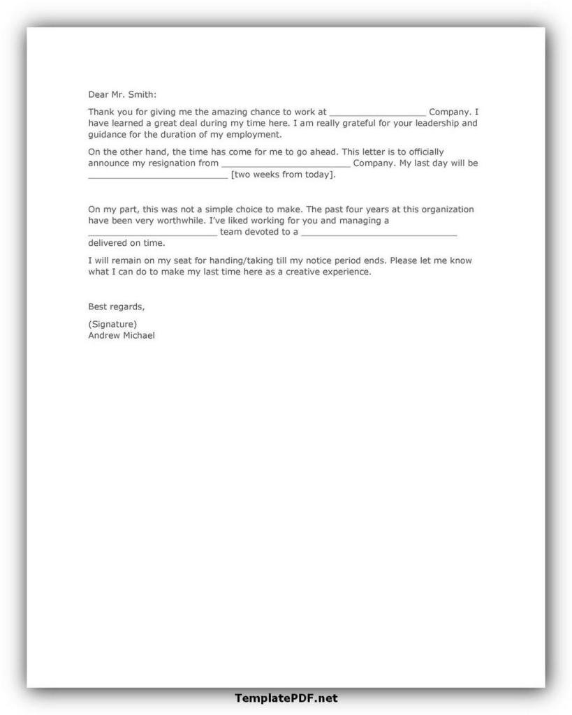Two weeks notice Template 04