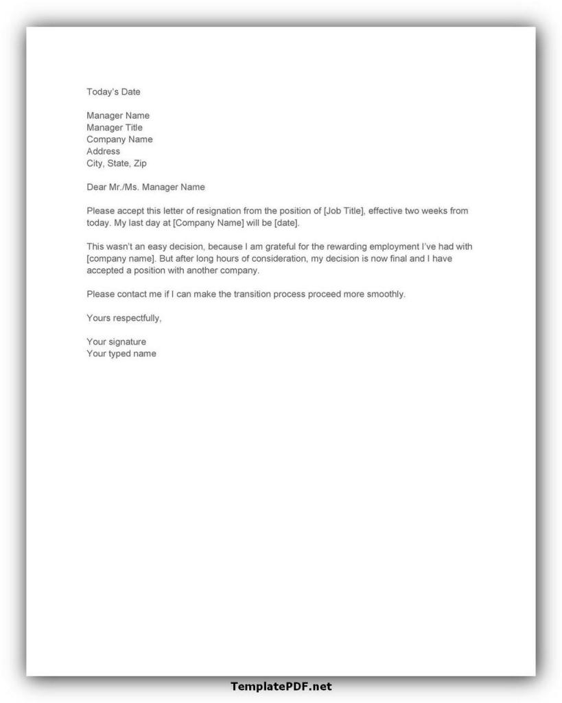 Two weeks notice Template 09