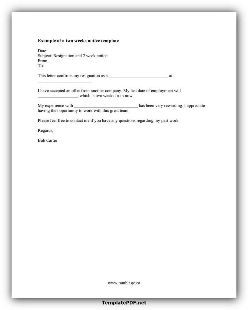 Two weeks notice Template 17