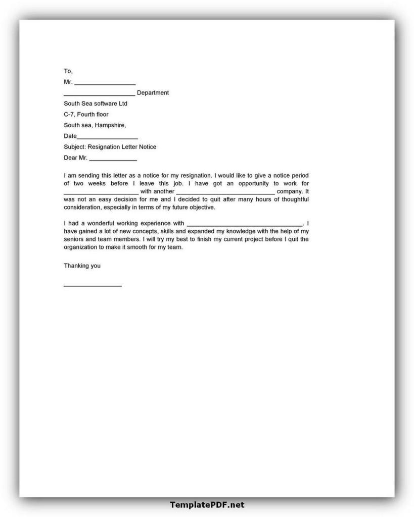 Two weeks notice Template 31