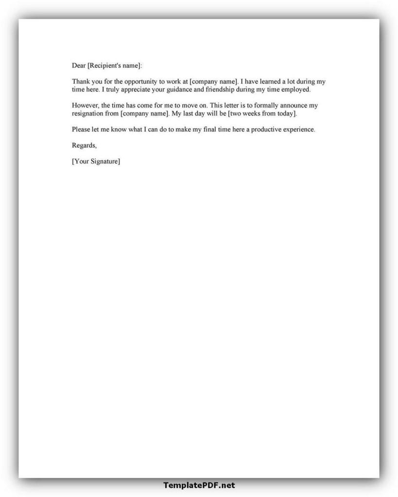 Two weeks notice Template 34