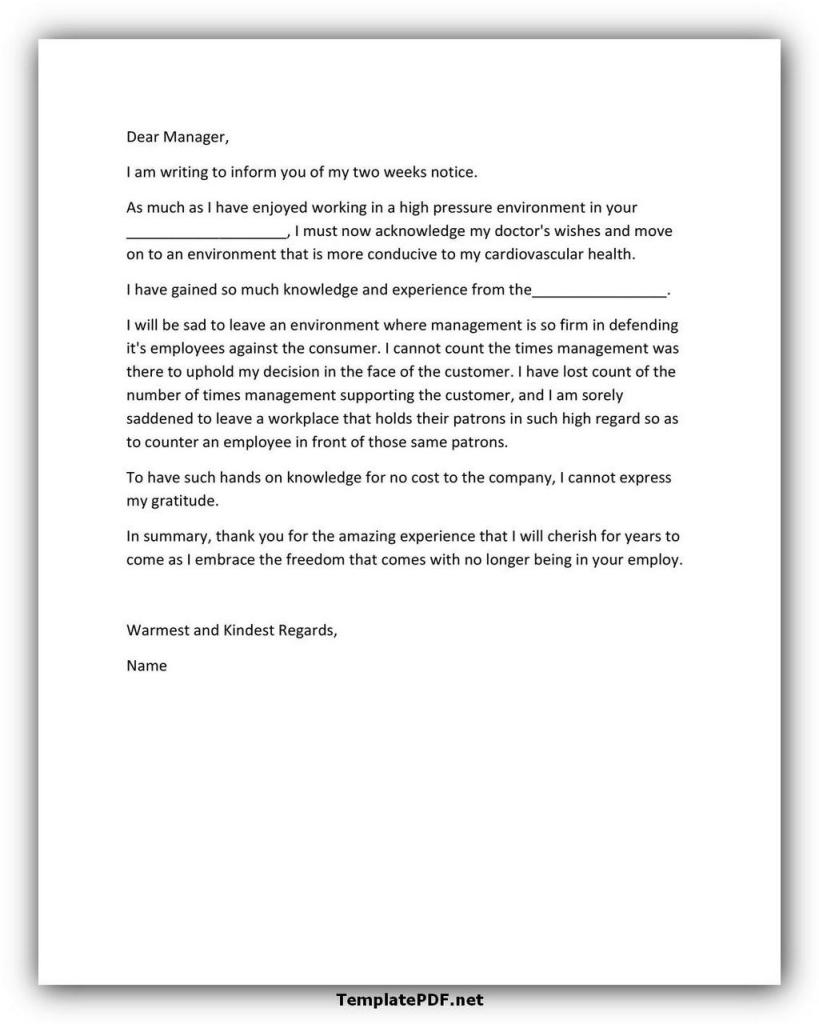 Two weeks notice Template 36