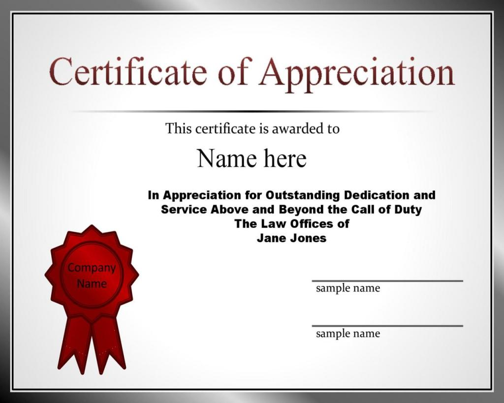 Certificate of Appreciation 25