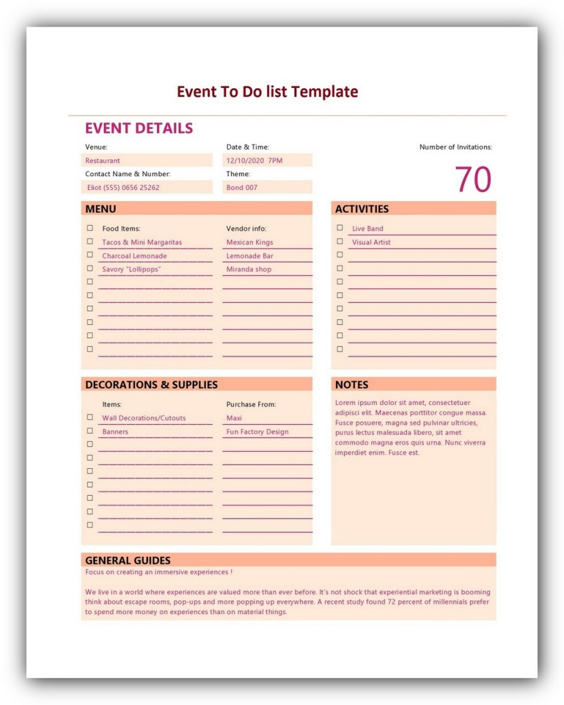 Event To Do List Template