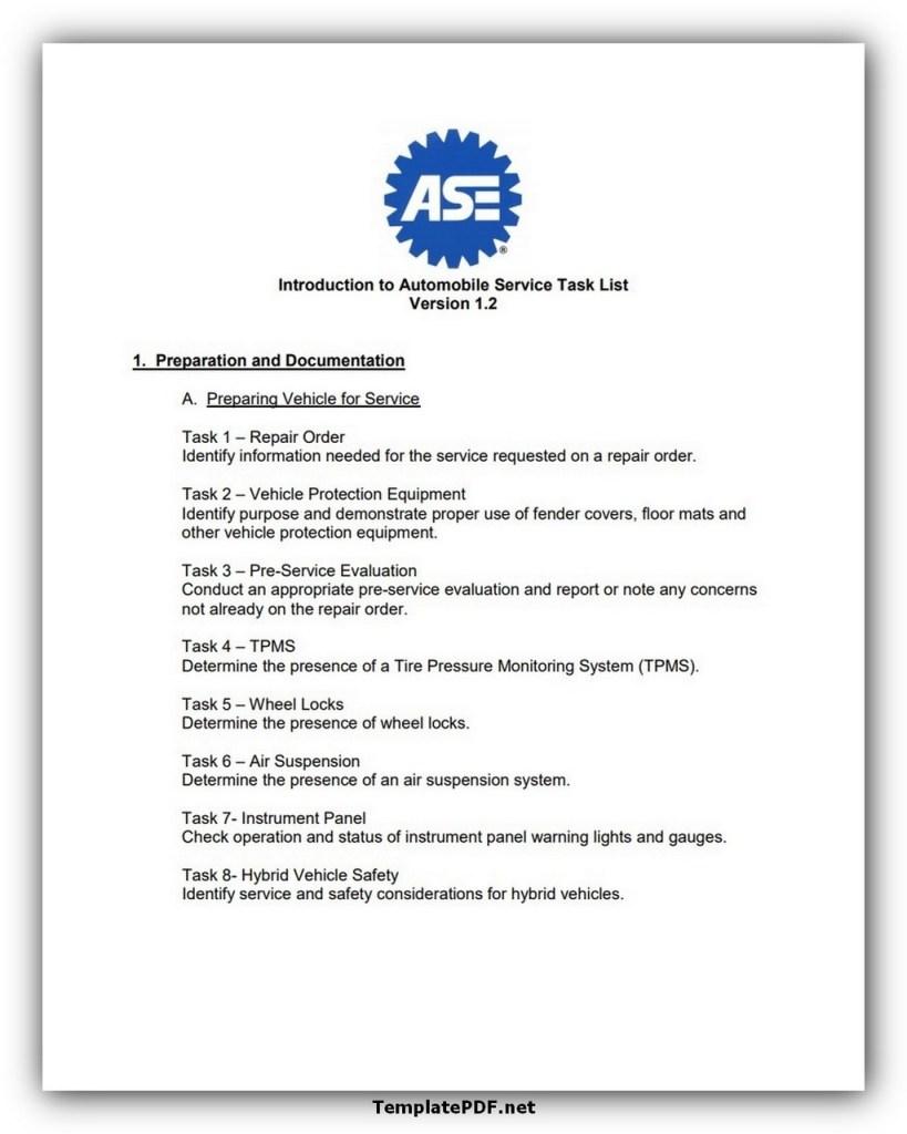 Example Automobile Service Task List