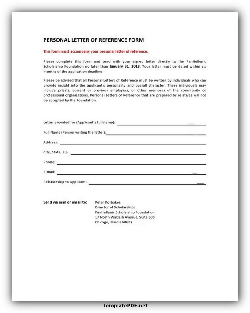 Personal Letter Of Reference Form Template