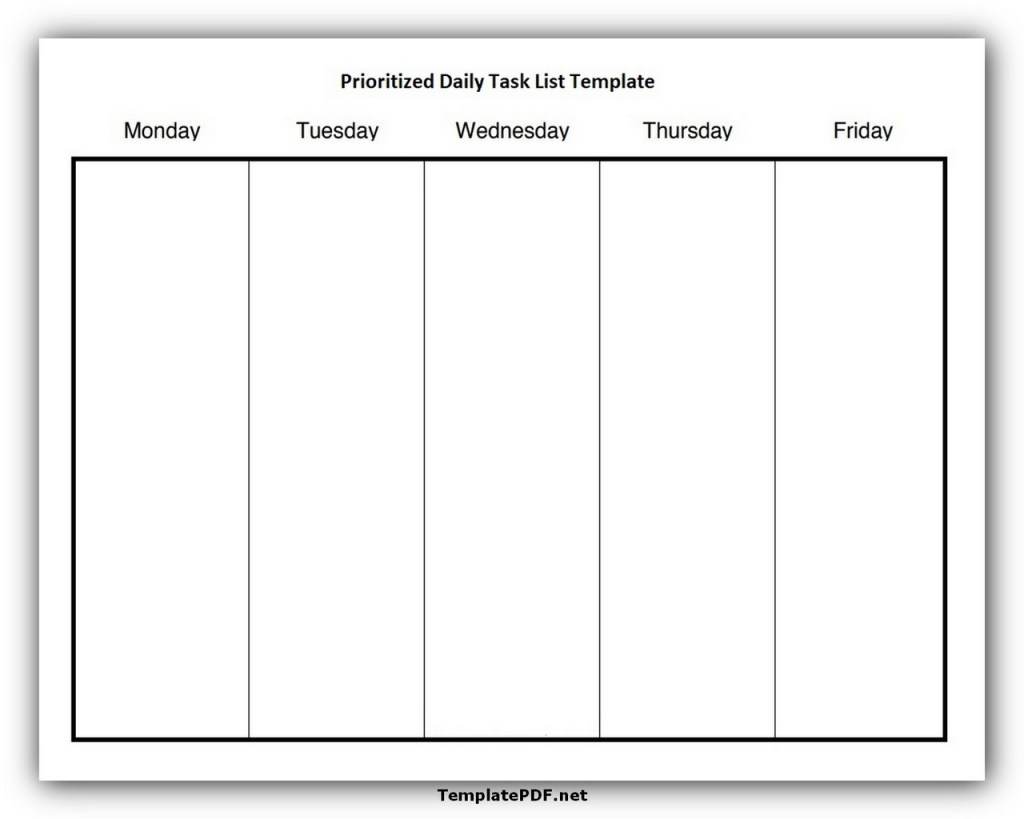 Prioritized Daily Task List Template
