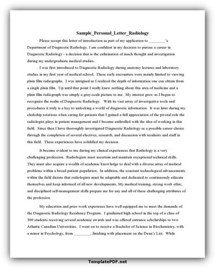 Sample Personal Letter Template Radiology