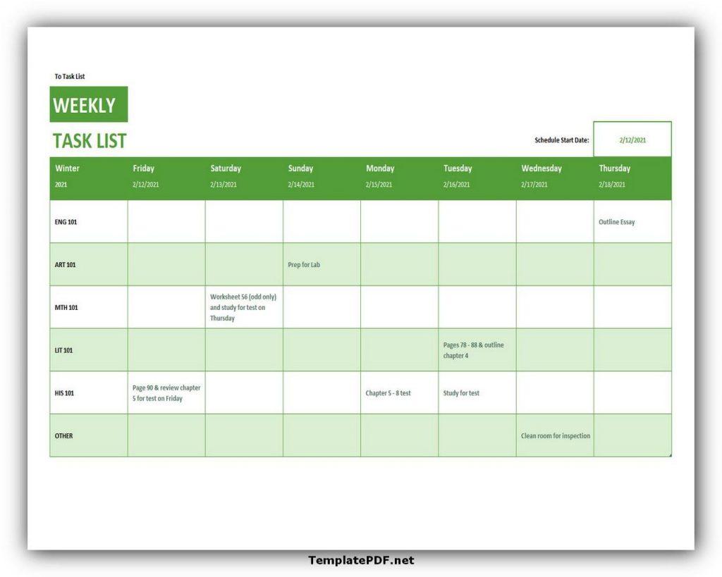 Weekly Task List Template Excel