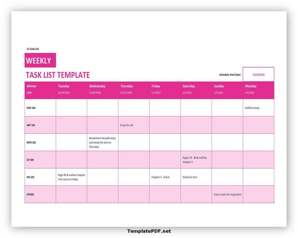 weekly task list template