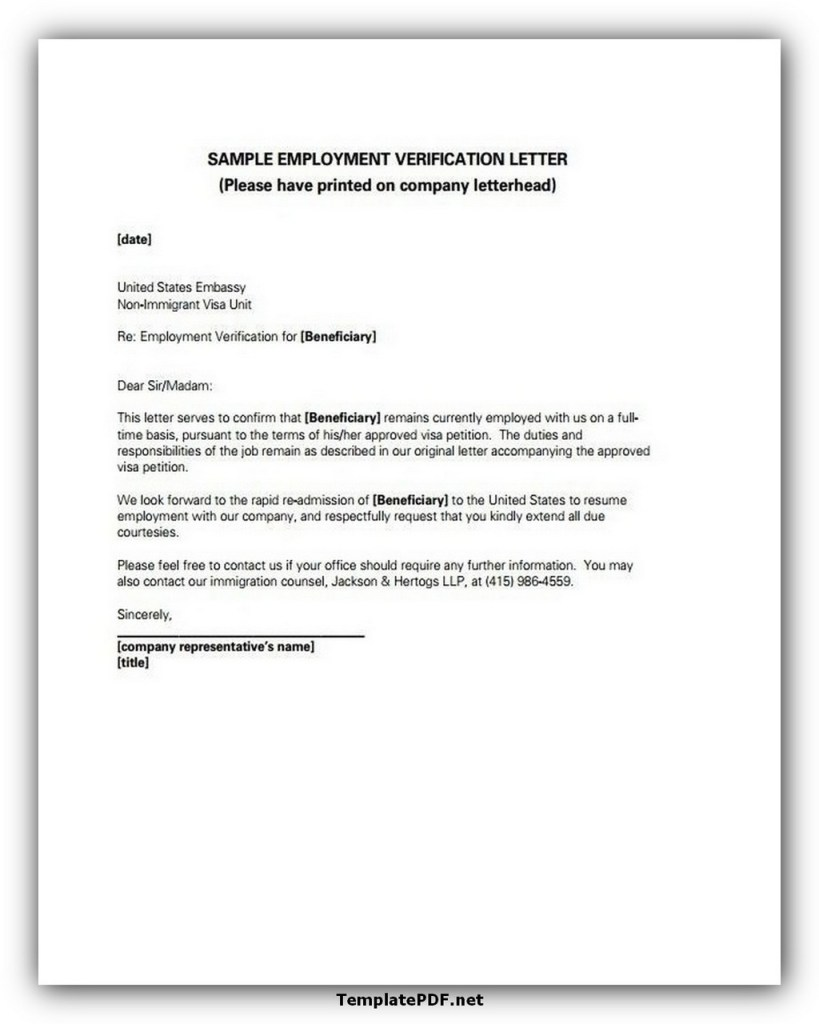 Employment Letter For Visa Application