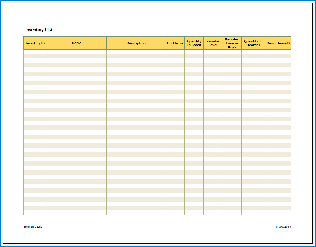 Free Printable Excel Inventory Template