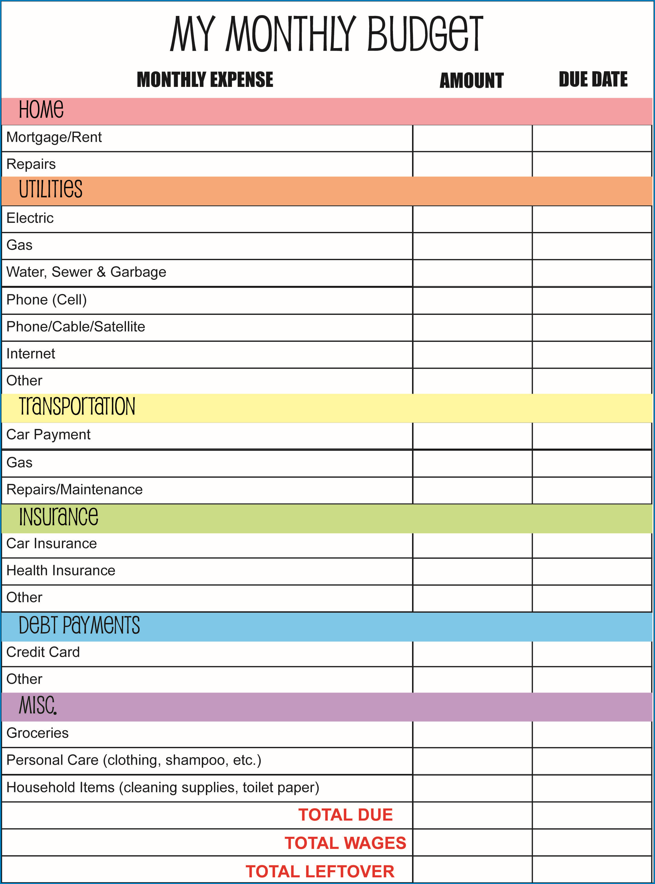 Free Printable Personal Budget Planner Template