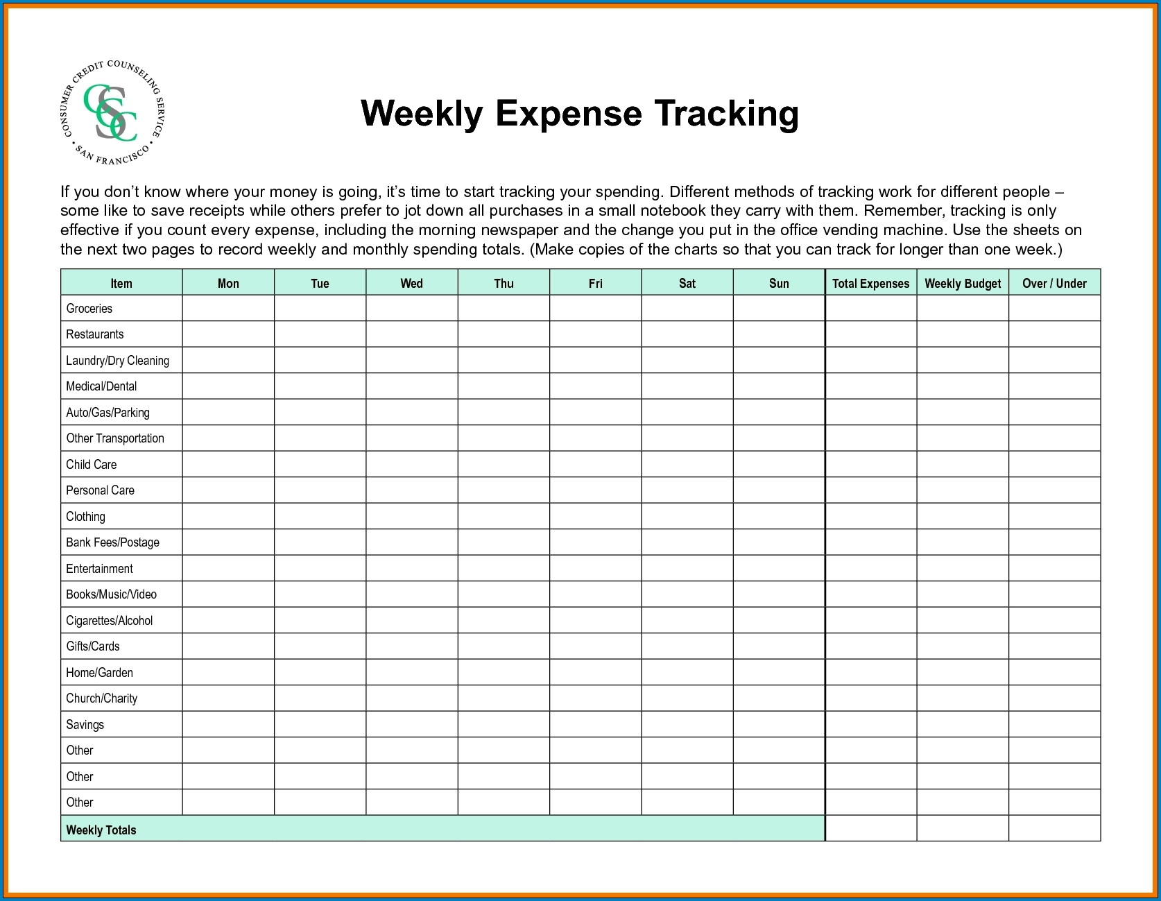 Free Printable Weekly Budget Template Excel