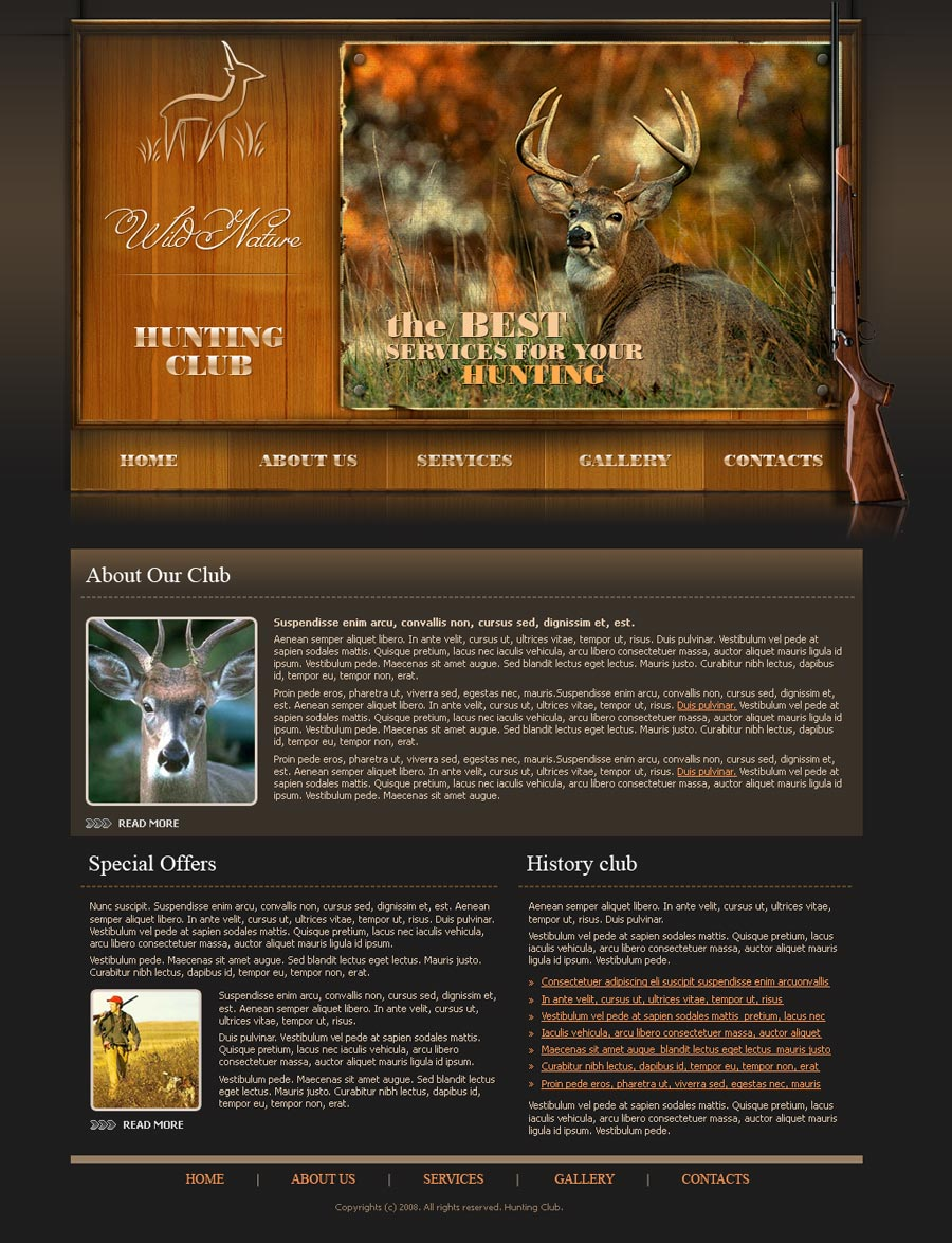 Hunting Website Template ID300110119