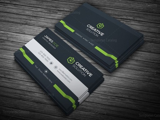 Dark Stylish Business Card Template Green