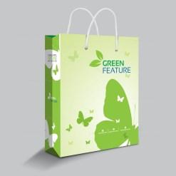 Green Feature Shopping Bag Template