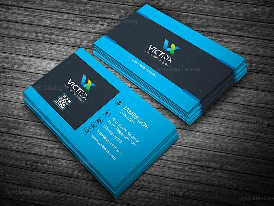 Blue Perfect Business Card Template 000130 Template Catalog
