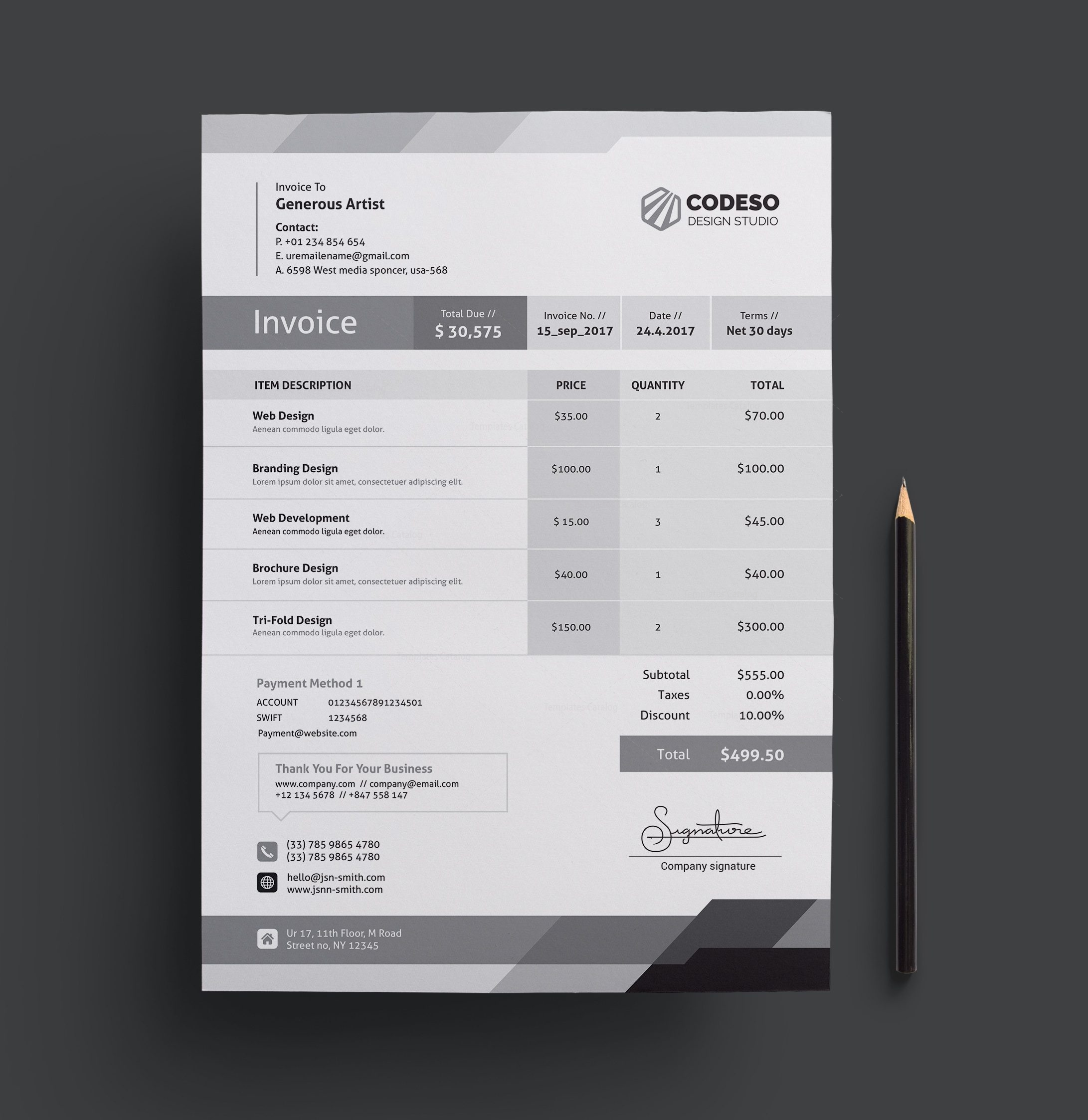 corporate invoice template   Fast lunchrock co corporate invoice template