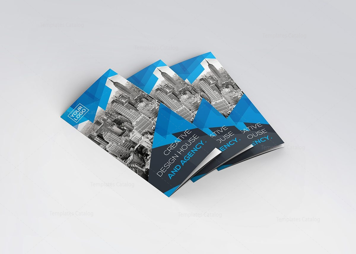 blue stylish tri-fold brochure template 000734