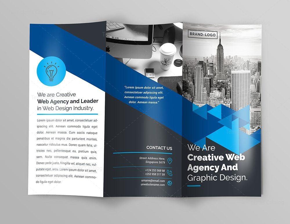 Premium Brochure Template With Triangle Shapes 000744 Template Catalog