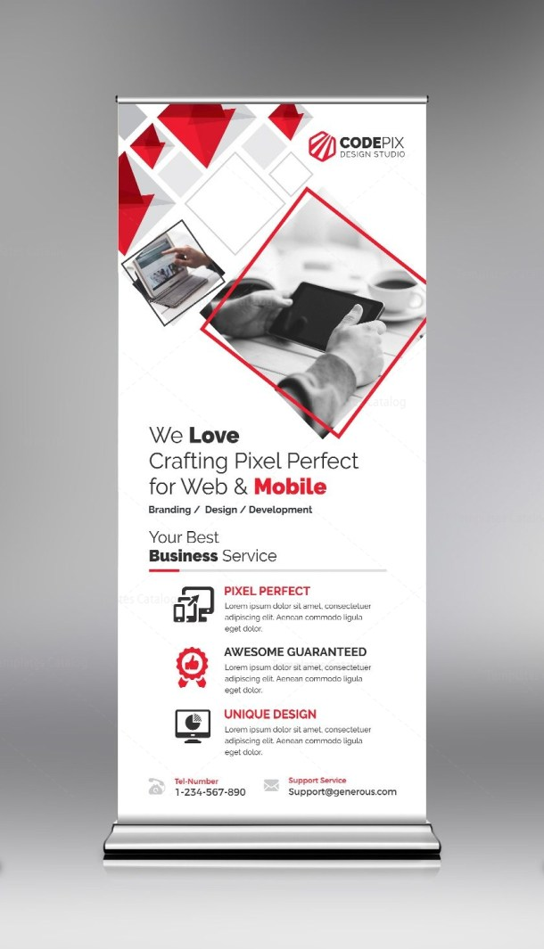 Red Roll-Up Banner Design Template