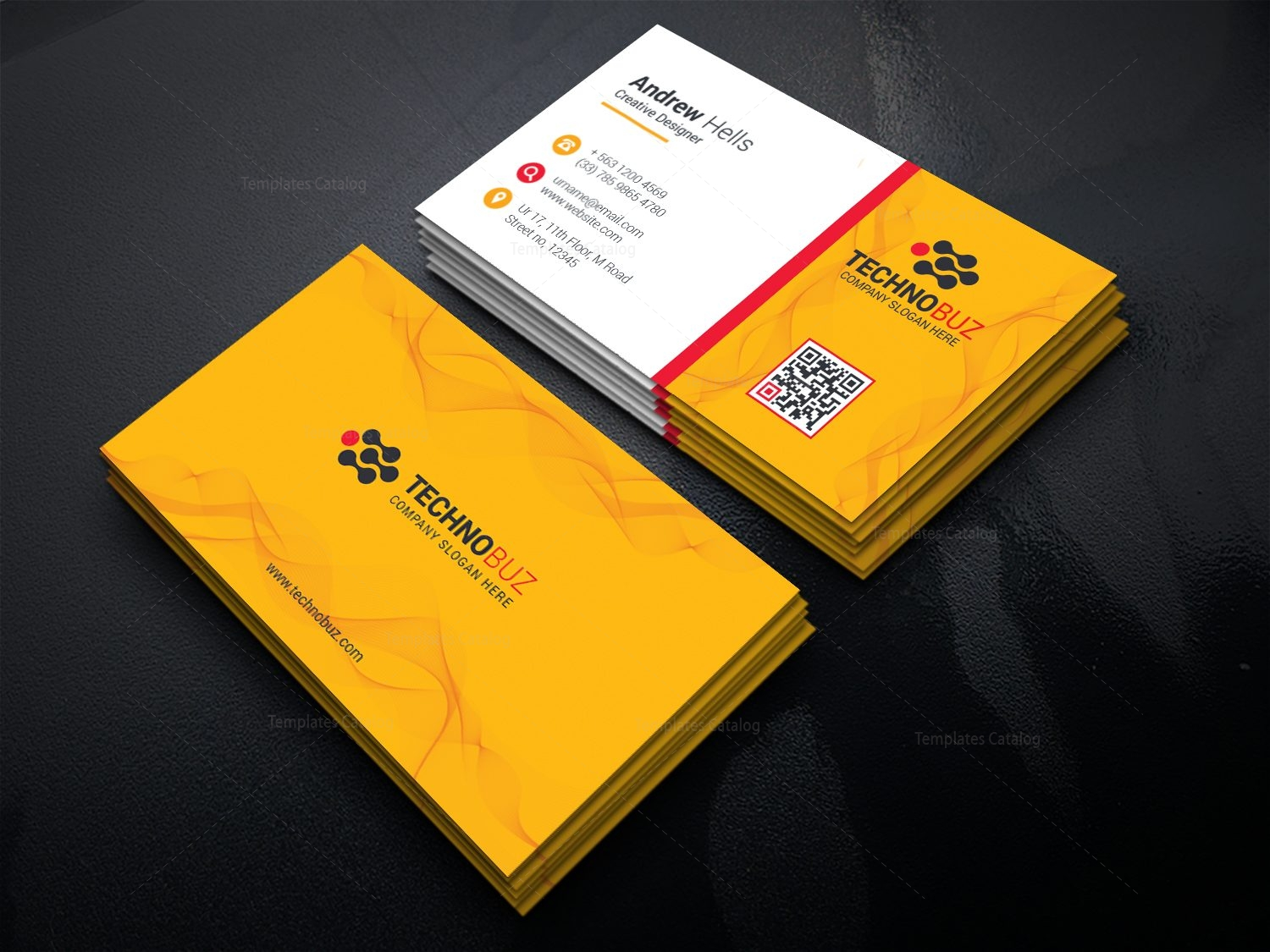 yellow elegant business card template 000778  template