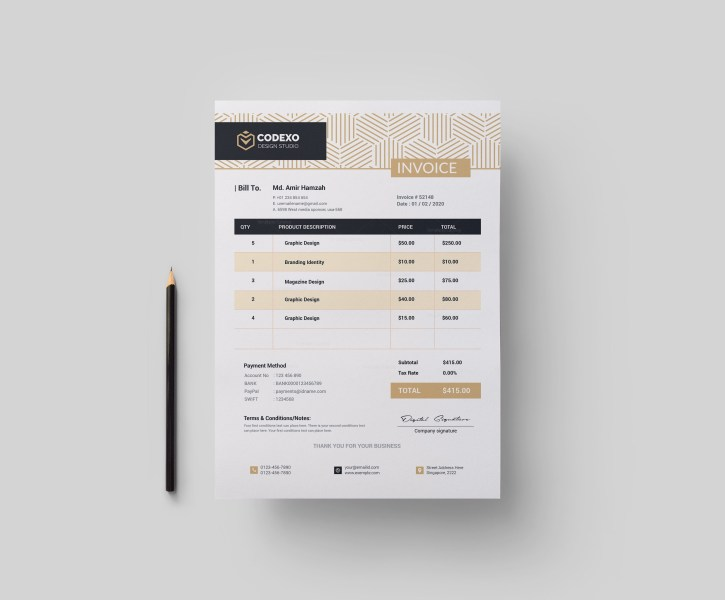 Demeter Stylish Corporate Invoice Template 000892   Template Catalog Demeter Stylish Corporate Invoice Template 1