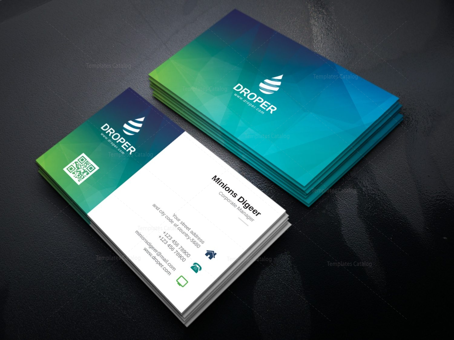 Dolphin Modern Corporate Business Card Template 000924 - Template Catalog
