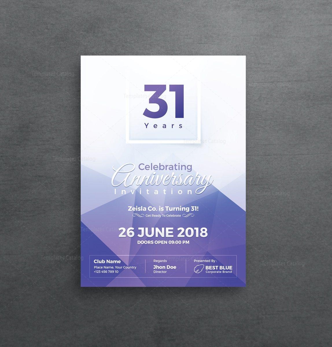 Athena Elegant Anniversary Invitation Template 001124