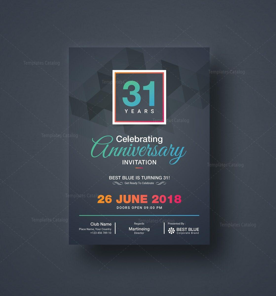 Zeus Elegant Anniversary Invitation Template 001126