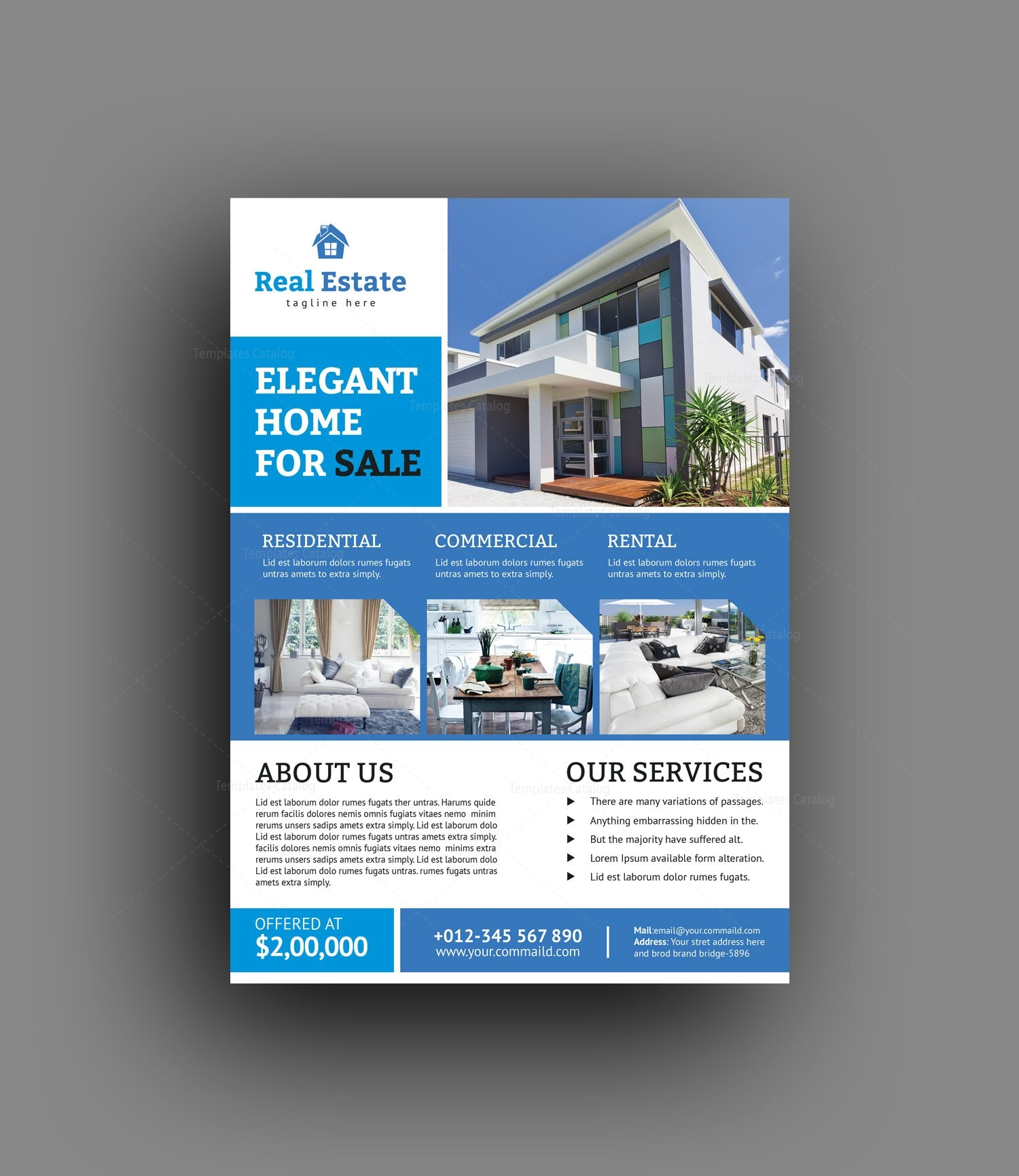 luxury real estate flyer template 001468